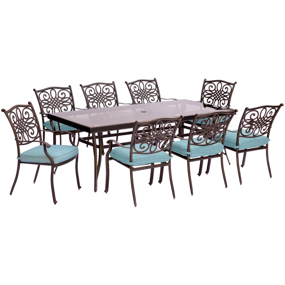 Cambridge Seasons 9 Piece Aluminum Outdoor Dining Set With Blue Cushions Extra Long