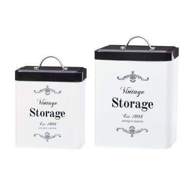 Antique Shoppe 2-Piece Metal Storage Canister Set with Rectangular Shape