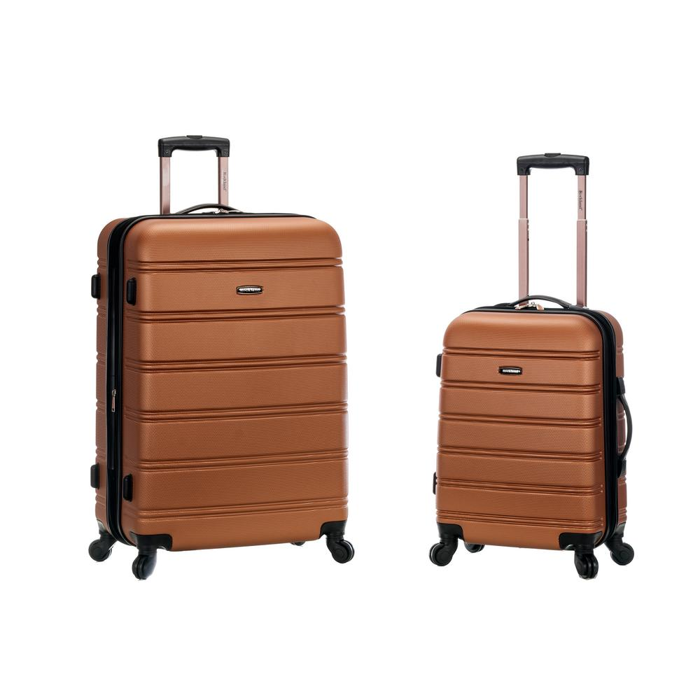 Rockland Melbourne Expandable 2-Piece Hardside Spinner Luggage Set, Brown