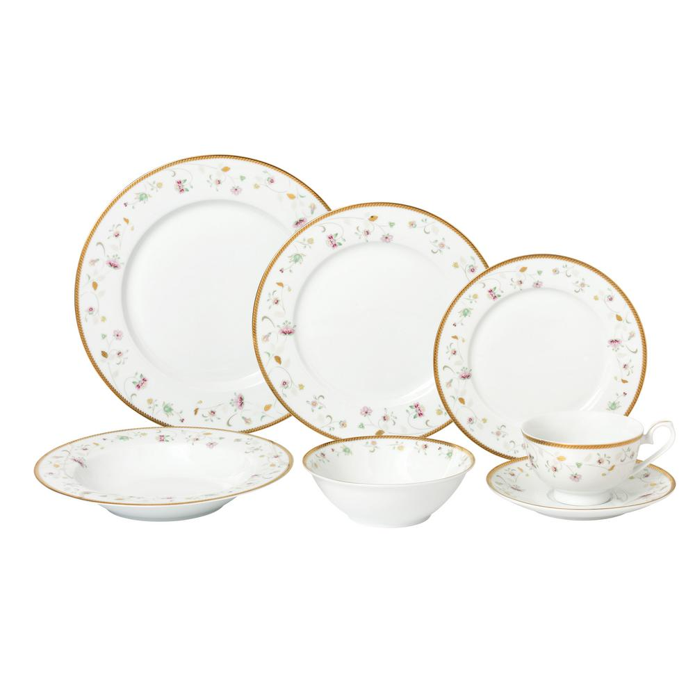 Lorren Home Trends 5-Piece Patterned Assorted Colors Bone China Dinnerware  Set (Service for 5)-Greta-5 - The Home Depot