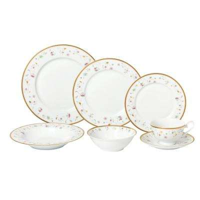 28-Piece Assorted Colors Dinnerware Set-New Bone China Service for 4-People-Greta