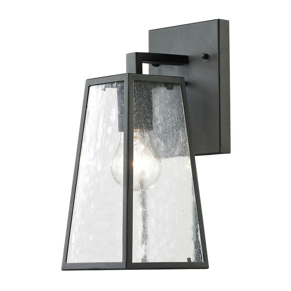 Titan Lighting Gloucester Collection 1-Light Textured Matte Black Outdoor Sconce  sc 1 st  Home Depot & Titan Lighting Gloucester Collection 1-Light Textured Matte Black ...