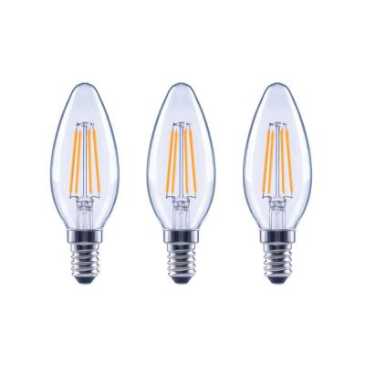 60-Watt Equivalent B11 Dimmable ENERGY STAR Clear Glass Filament Vintage Edison LED Light Bulb Bright White (3-Pack)