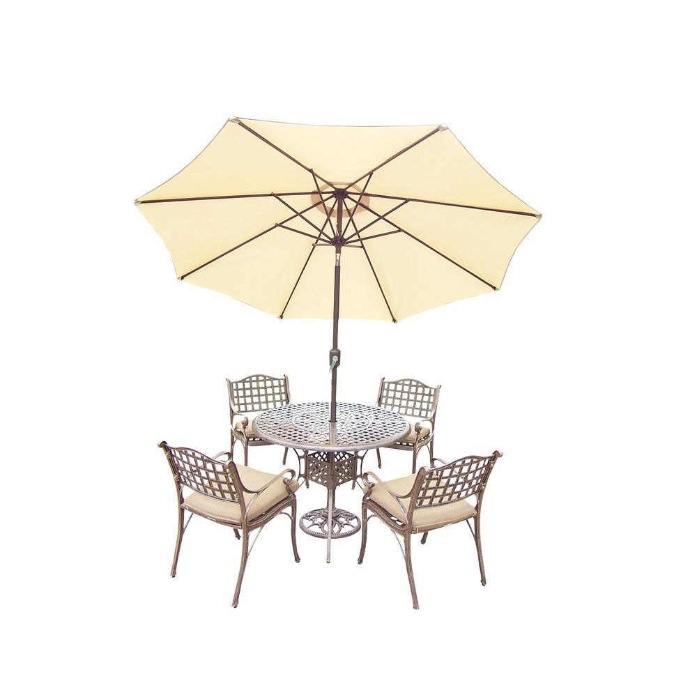 7 Piece Aluminum Outdoor Dining Set With Sunbrella Beige Cushions And Umbrella Hd1102t 1109c4 D56 4005bg 4101 11 Ab The Home Depot
