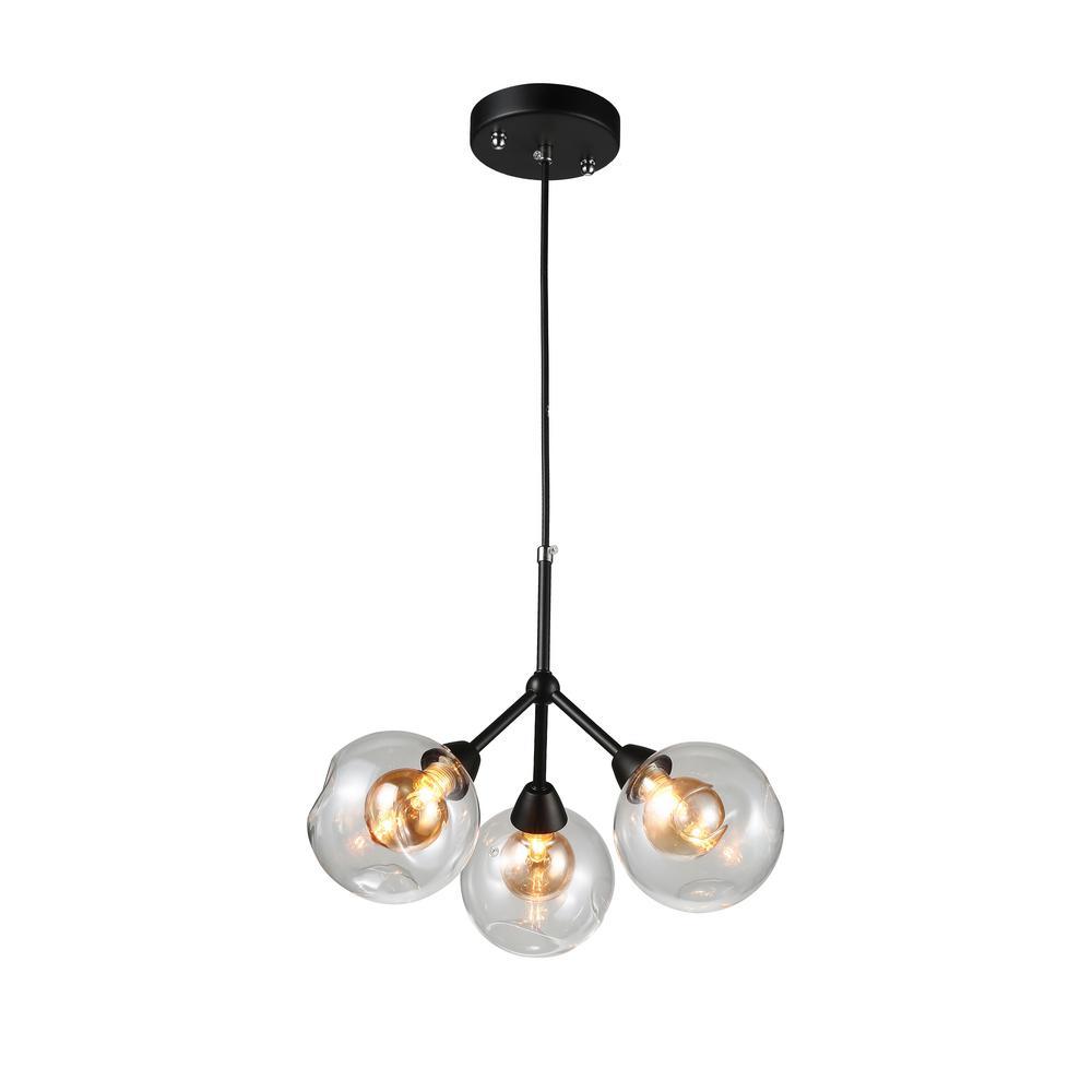 Brooklyn 3-Light Black Pendant Sputnik