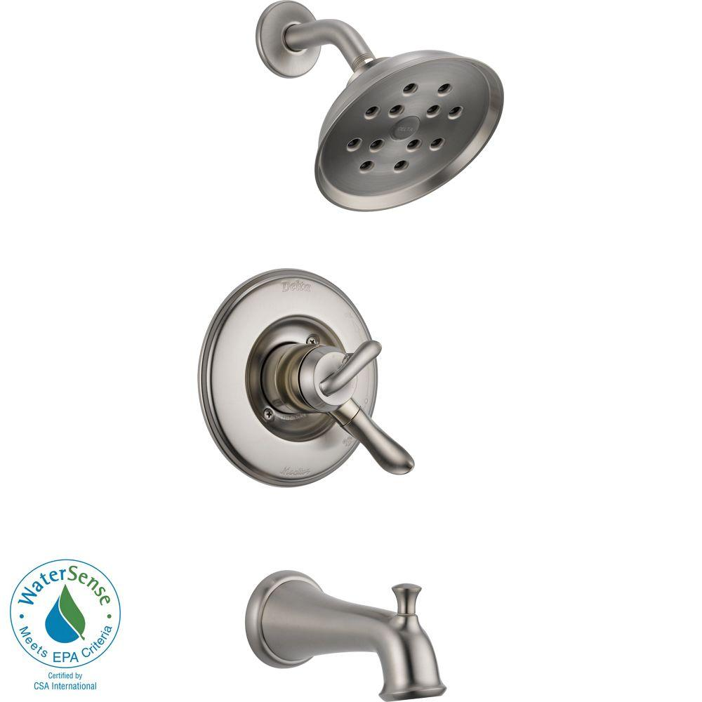 Delta Linden 1-Handle H2Okinetic Tub and Shower Faucet Tr...