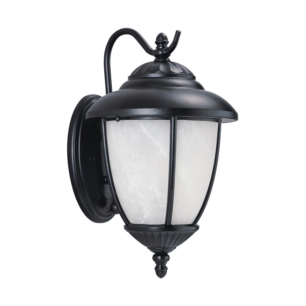 Sea Gull Lighting Yorktown 1-Light Black Outdoor 13.25 in. Wall Lantern Sconce with LED Bulb