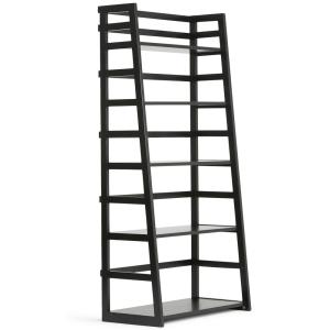 Acadian Solid Wood 63 in. x 30 in. Rustic Ladder Shelf Bookcase in Black