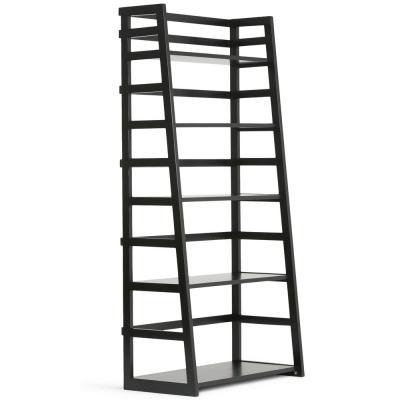 63 in. Black Wood 5-shelf Ladder Bookcase with Open Back
