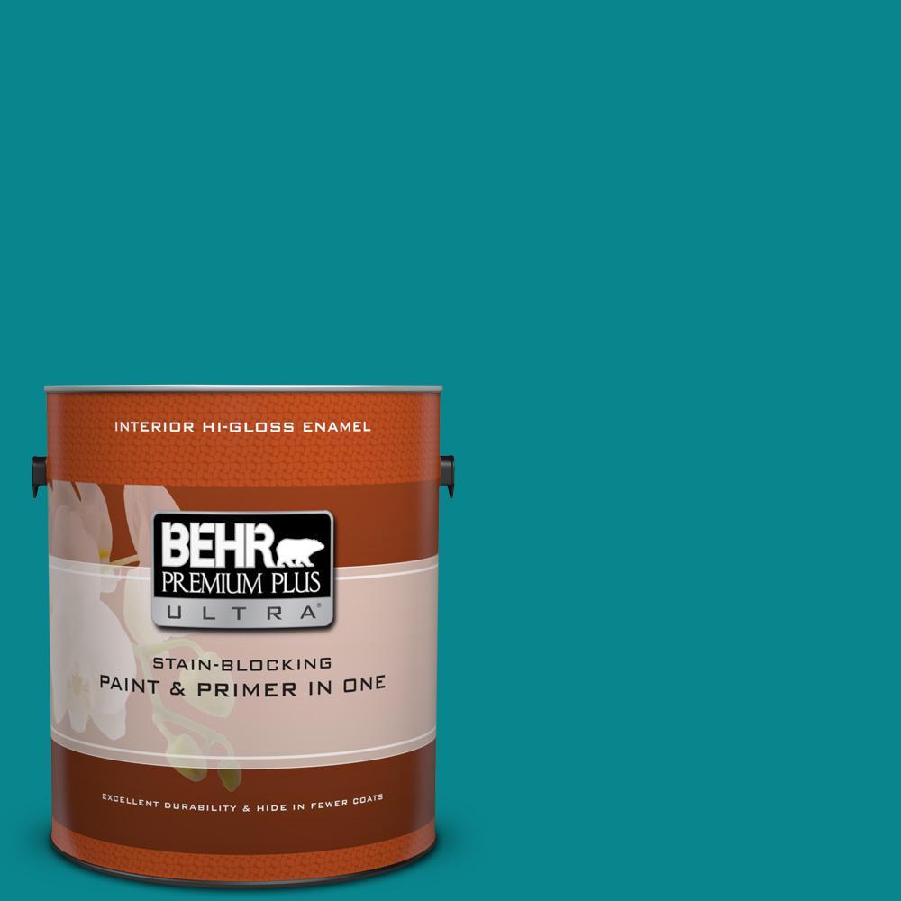 1 gal. #500B-7 Tucson Teal Hi-Gloss Enamel Interior Paint