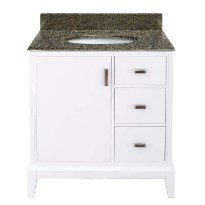 Shaelyn 31 in. W x 22 in. D Bath Vanity in White Right Hand Drawers Granite Vanity Top in Quadro with White Basin