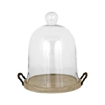 Campagne 16 in. Birch, Iron And Clear Glass Decorative Dome