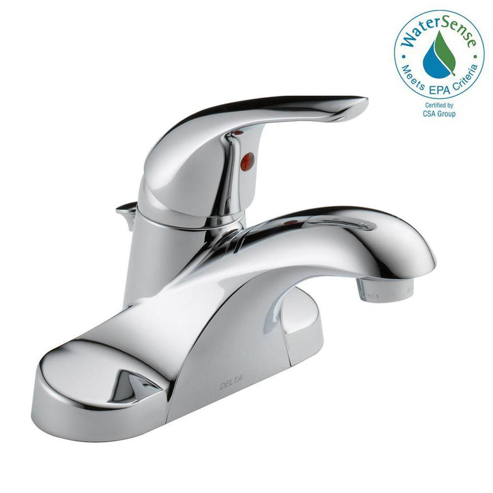 Delta Foundations 4 In Centerset Single Handle Bathroom Faucet In Chrome B510lf Ppu Eco The