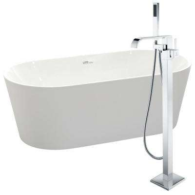 Chand 67 in. Acrylic Flatbottom Non-Whirlpool Bathtub in White with Angel Faucet in Polished Chrome