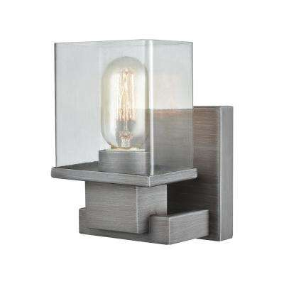 Hotelier 1-Light Weathered Zinc with Clear Glass Bath Light