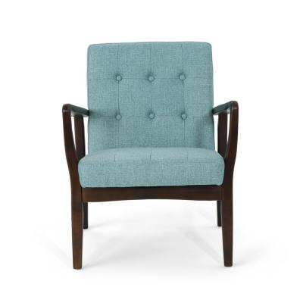 Marcola Mid-Century Modern Button Back Blue Fabric Club Chair