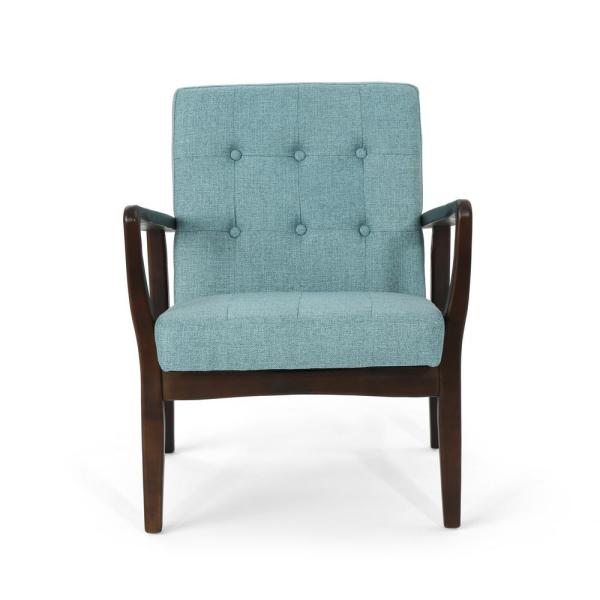 Noble House Marcola Mid-Century Modern Button Back Blue Fabric Club Chair