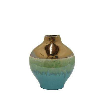 Gold Decorative Vase with Green Glaze