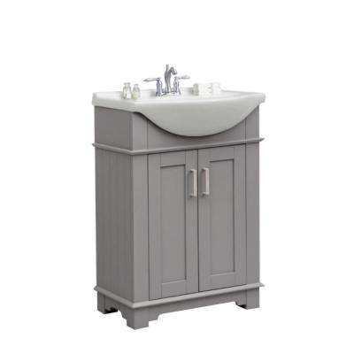 24 in. W x 17 in. D x 34 in. H Bath Vanity in Gray with Ceramic Vanity Top in White with White Basin