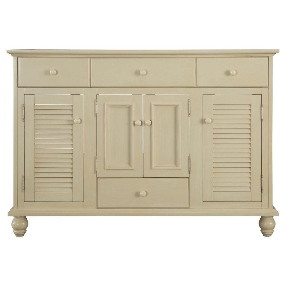 Home Decorators Collection Cottage 48 in. W Bath Vanity Cabinet Only in Antique  White - Home Decorators Collection Cottage 48 In. W Bath Vanity Cabinet Only