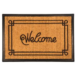 Entryways Welcome with Border 18 inch x 30 inch Recycled Rubber and Coir Door Mat by Entryways