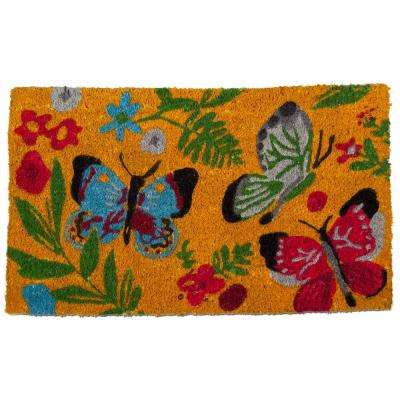 Sunshine Butterfly 18 in. x 30 in. Coir Door Mat