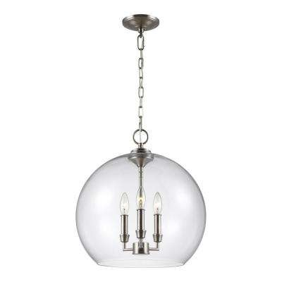 Lawler 16 in. W 3-Light Satin Nickel Pendant