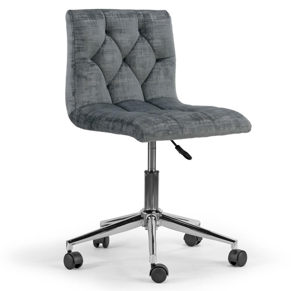 Amali Grey Velvet Upholstered Adjustable Height 18.25 in. with Wheel Base Swivel Office Chair