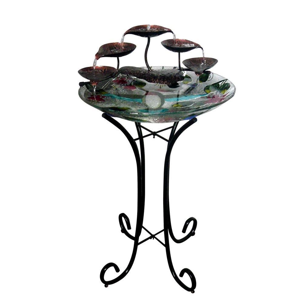 Hampton Bay Fusion Glass Birdbath Fountain-2818422 - The Home Depot
