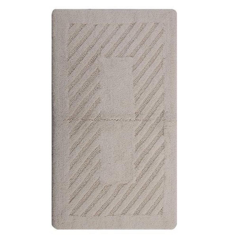 Ivory 22 in. x 60 in. Diagonal Racetrack Reversible Bath Rug