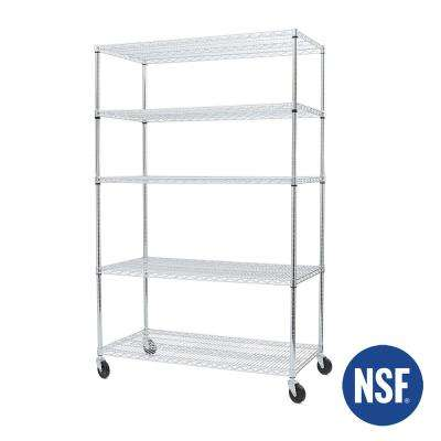48 in W x 24 in D x 72 in H Silver UltraDurable Commercial-Grade 5-Tier Steel Wire Shelving with Wheels