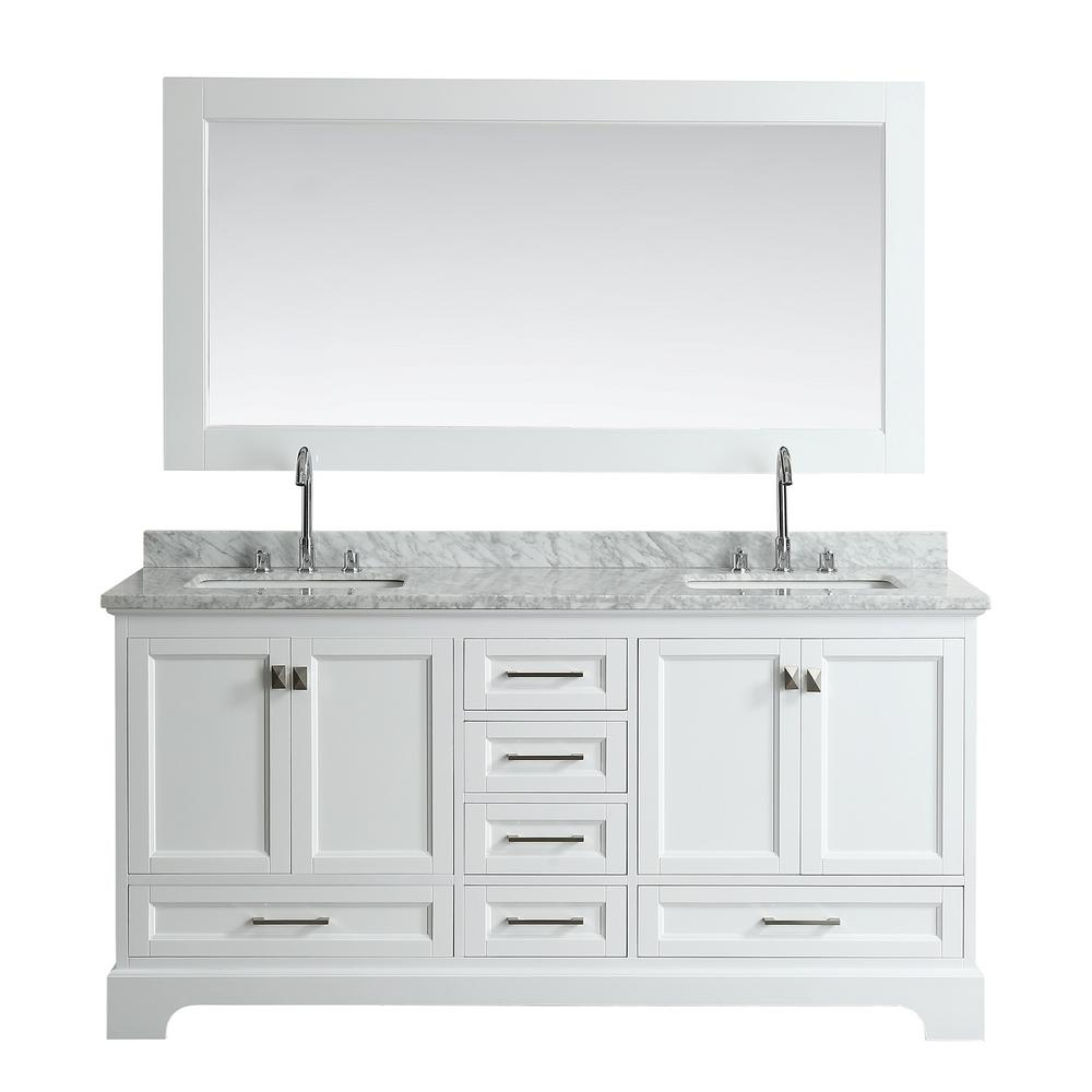 Design Element Omega 72 in. W x 22 in. D Vanity in White with Marble ...