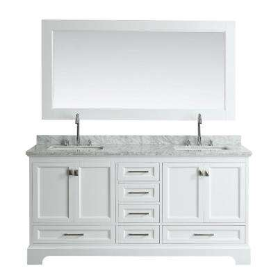Omega 72 in. W x 22 in. D Vanity in White with Marble Vanity Top in White with White Basin and Mirror