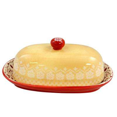 Hollydale 8.4 in. 2-Piece Red and Beige Butter Dish with Lid