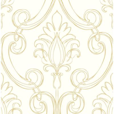Sketched Damask Metallic Gold Classical Peel and Stick Wallpaper (Covers 30.75 sq. ft.)