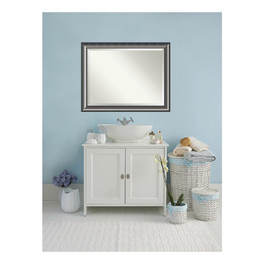 Quick Metallic Silver Scoop Wood 46 in. W x 36 in. H Single Contemporary Bathroom Vanity Mirror