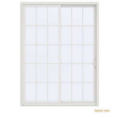 72 in. x 96 in. V-4500 Contemporary White Vinyl Right-Hand 15 Lite Sliding Patio Door