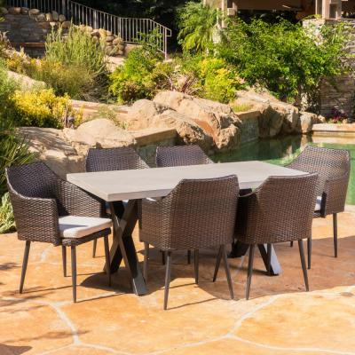 Macy Multi-Brown 7-Piece Wicker Outdoor Dining Set with Beige Cushions