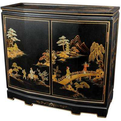 Oriental Furniture Black Lacquer Japanese Slant Front Cabinet