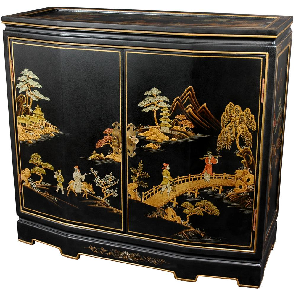 Oriental Furniture Black Lacquer Anese Slant Front Cabinet Lcq 35 Bc The Home Depot