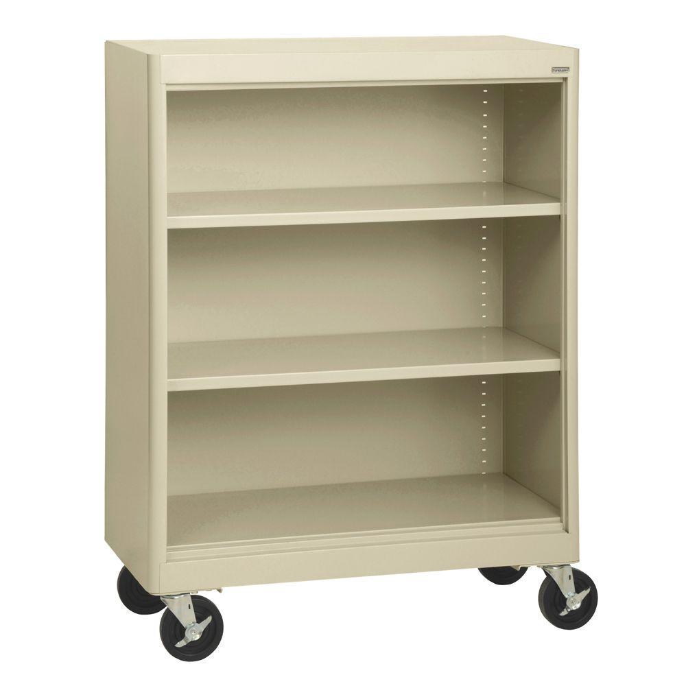 2-Shelf Radius Edge Putty Mobile Steel Bookshelf