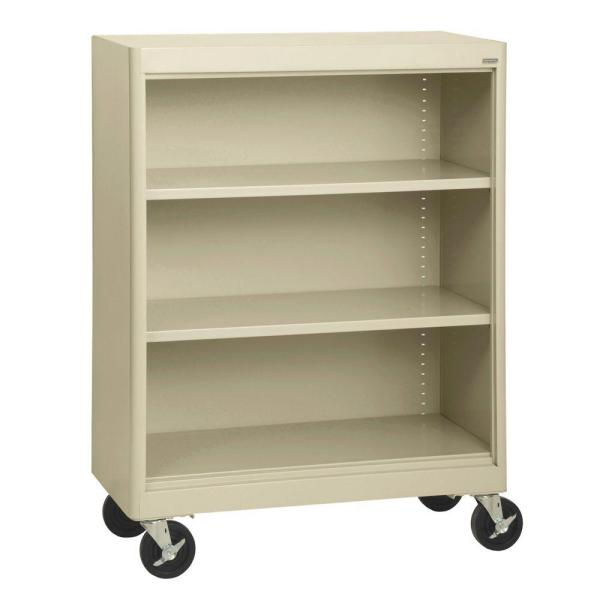 48 in. Putty Metal 3-shelf Cart Bookcase with Adjustable Shelves