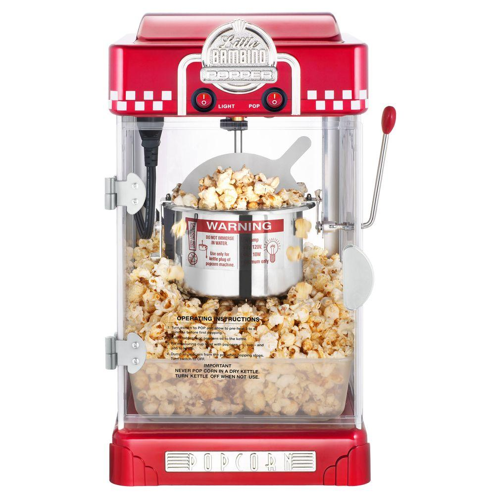 Little Bambino 2.5 oz. Popcorn Popper, Red/Orange If you are in the market for a popcorn popper, stop looking! These Great Northern Popcorn top quality machines. The Little Bambino popcorn maker features a revolutionary  removable serving tray  that is the first of its kind. Once the corn has popped, simply remove the tray and enjoy fresh theater popcorn in the convenience of your home. The slide-out popcorn tray makes cleanup simple since it is dishwasher safe. Color: Red/Orange.