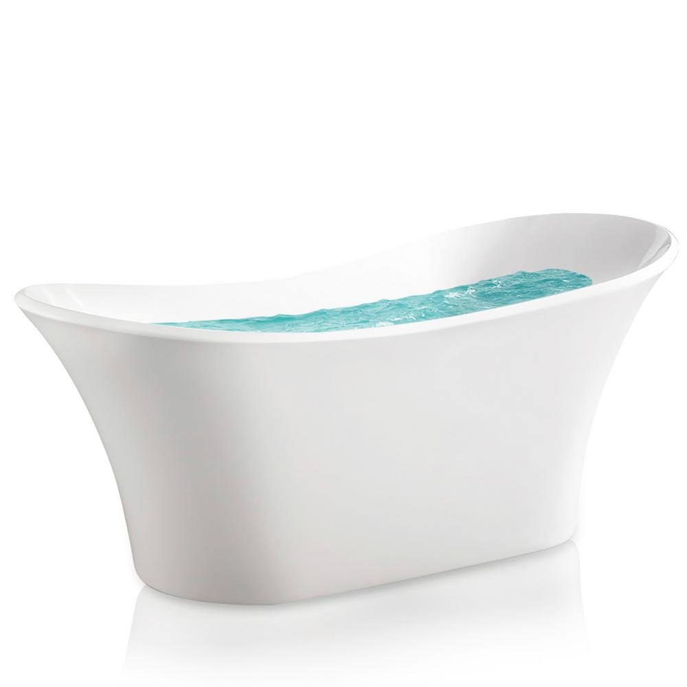 Acrylic Center Drain Oval Slipper Flatbottom Freestanding Bathtub In White