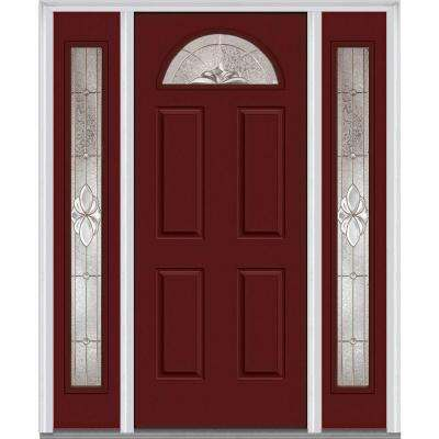 Heirloom Master Deco Glass 1/4 Lite Painted Majestic Steel Prehung Front  Door With Sidelites