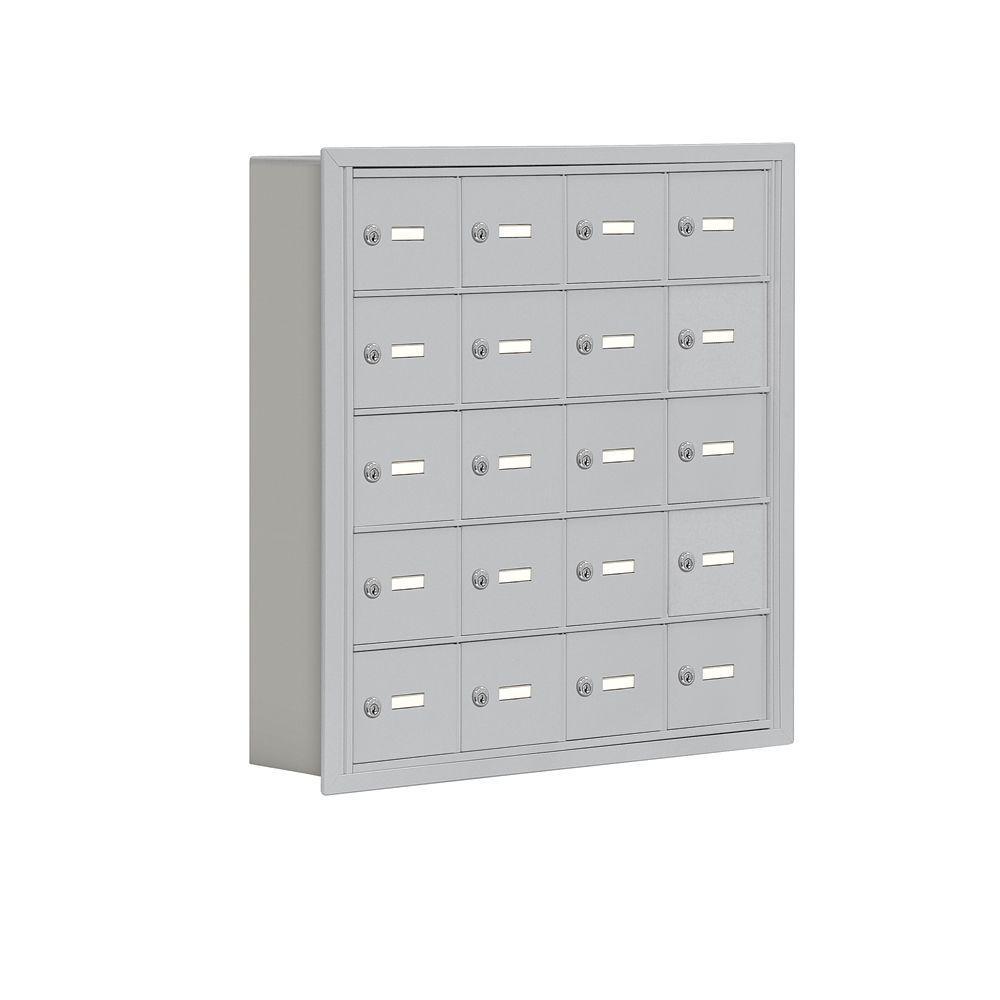 19000 Series 30.5 in. W x 31 in. H x 5.75 in. D 20 A Doors R-Mount Keyed Locks Cell Phone Locker in Aluminum