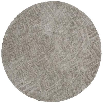 Zafi Gray 8 ft. Round Area Rug