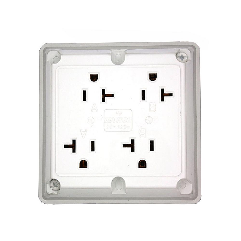 20 Amp Industrial Grade Heavy Duty 4-in-1 Grounding Outlet, White