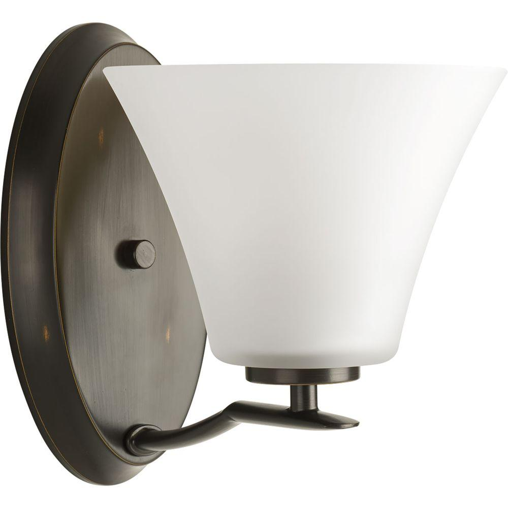 Progress Lighting Bravo Collection 1-Light Antique Bronze Bath Sconce with White Etched Glass Shade