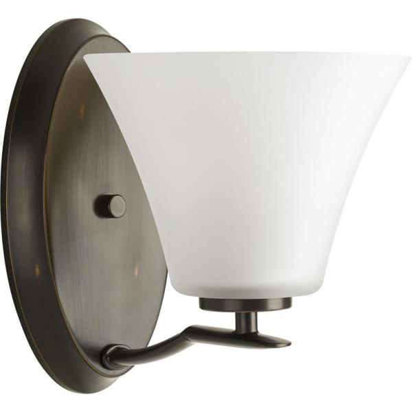 Bravo Collection 1-Light Antique Bronze Bath Sconce with White Etched Glass Shade